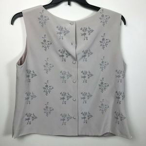 Talbots Misses 16 Silk Floral embroidered Blouse